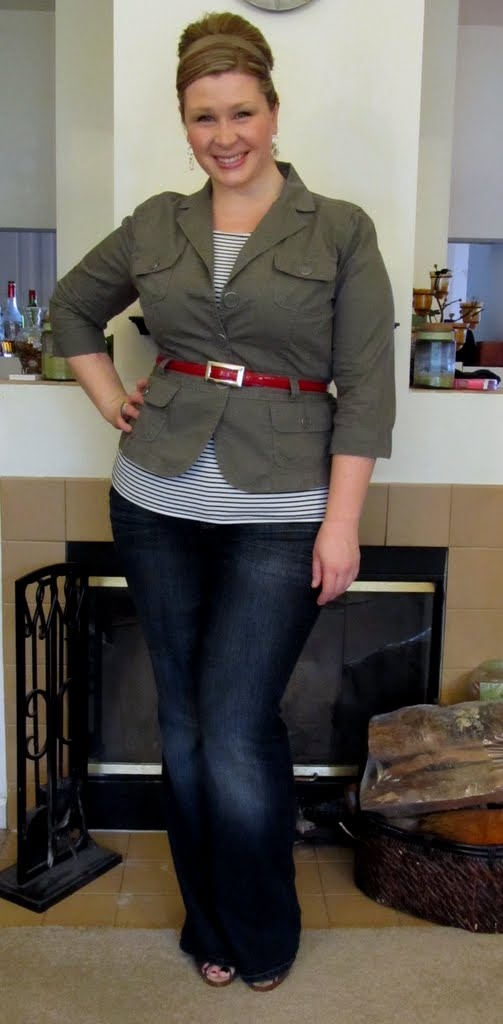 Military tie jacket - LOFT / Striped top - The Limited / Flare-leg jeans - Lane Bryant / Red belt - Banana Republic