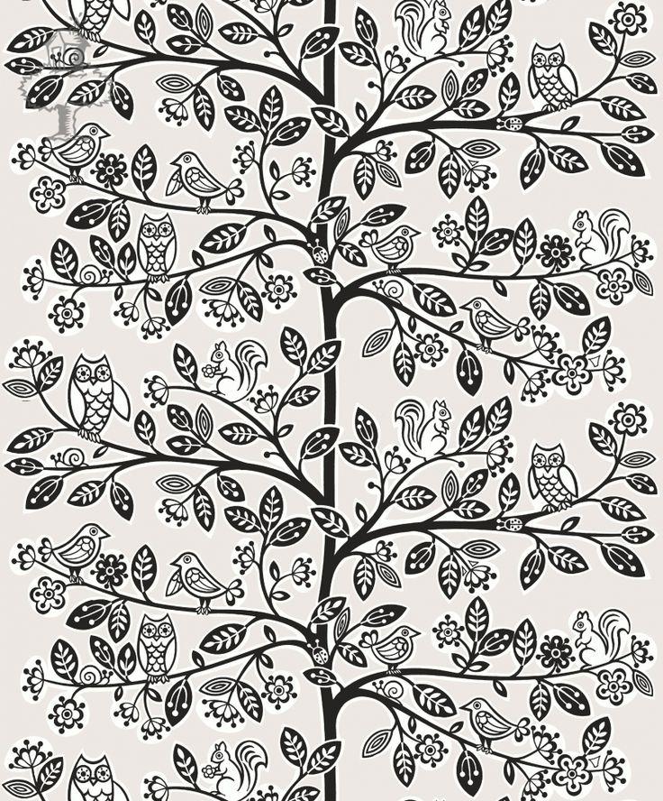 BEHANGPAPIER BOOM ECRU ZWART WOODWORK - Wallpaper, Papier peint, Kinderkamer decoratie   De Boomhut