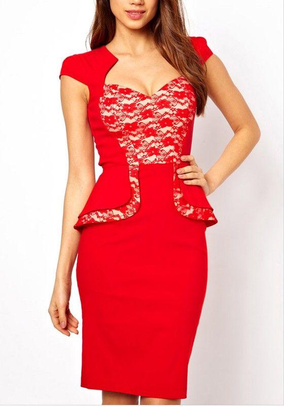 Red Plain Cap Sleeve Above Knee Cotton Dress $38.18