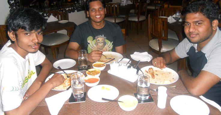 Karan, Kalyan & Chiranjeevi enjoying some Hyderabadi delicacies at The Golconda Bowl, Hauz Khas Village