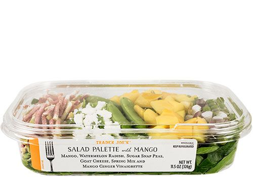 Trader Joe's | Salad Palette with Mango |  comes with a mango ginger vinaigrette that's light, slightly citrusy, and thoroughly refreshing.|  Each 11.5 ounce salad weighs in with 330 calories (with the dressing!). We're selling it for $4.99. |  #traderjoes #salad #mango