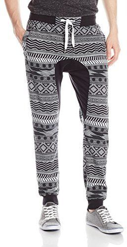 Southpole Men's Jogger Pants with All Over Aztec Patterns and Drop Crotch