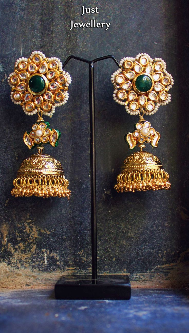 And contemporary gold jhumkas collection by khazana jewellery - Pretty In Gold Jhumkas Price 5800 Place Your Order