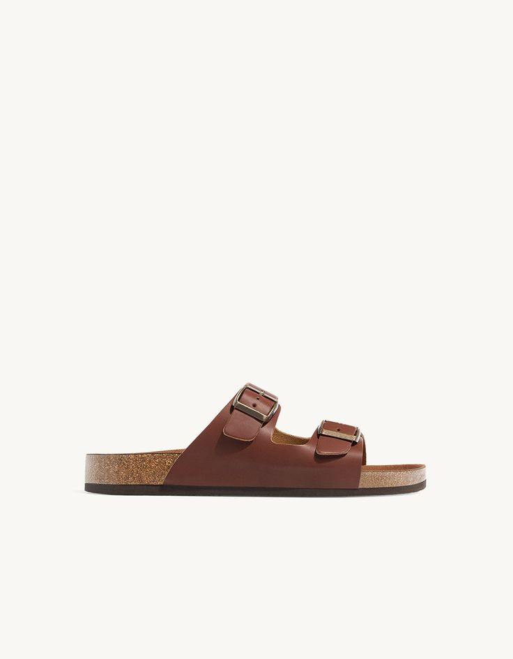 LEATHER sandals with buckles - Sandals | Stradivarius Greek