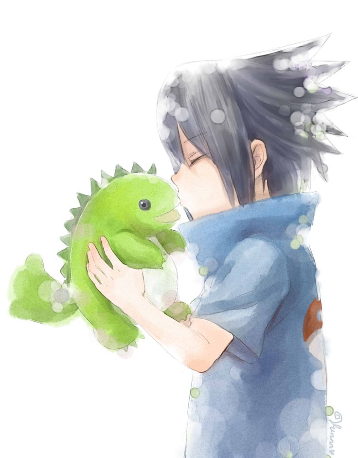 Young Sasuke Uchiha and his dinosaur <3
