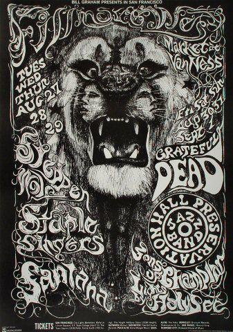 Vintage, retro, hippie, classic rock concert poster - Steppenwolf and Grateful Dead
