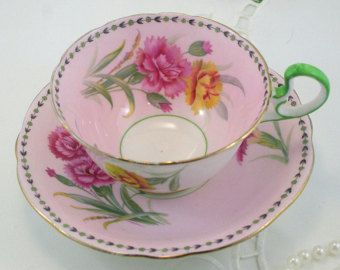 Vintage, Aynsley Teacup & Saucer, Delicate Floral Pattern on Pink Borders, Gold Rims, Bone English China made in 1940s.