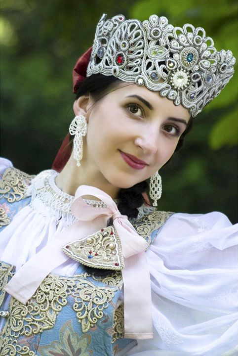 Russian traditional costume. Festive headdress (called 'coruna', similar to a…