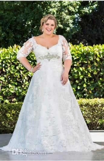 Plus Size Wedding Dresses with Sleeve Half Sleeve A-Line With Lace High Back Neck Wedding Gowns