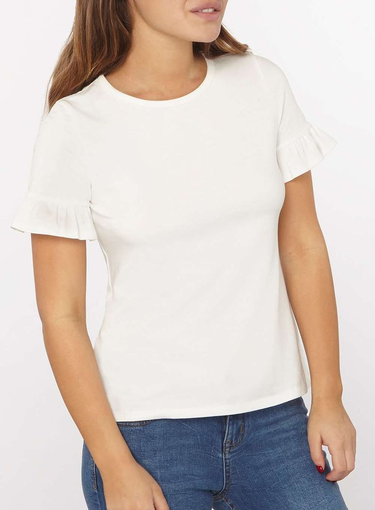 Womens Petite Ivory Flutter Sleeve Top- White