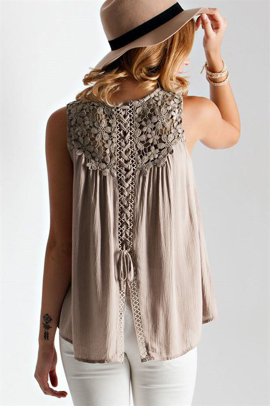 Light Coffee Sleeveless With Crochet Lace Tank Top 12.99