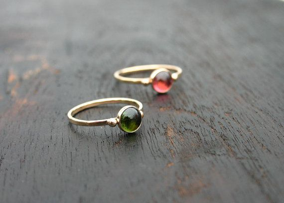 14k solid gold tourmaline stack ring. by JaneFullerDesigns on Etsy