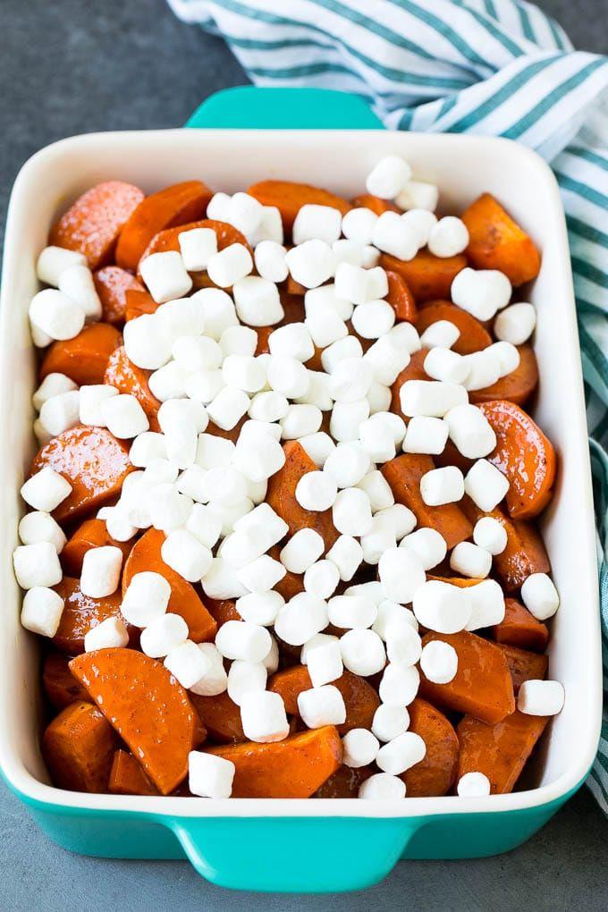 Candied Yams Recipe Candied Sweet Potatoes Yams Sweetpotatoes Marshmallows Casserole Sidedish Fa Candied Yams Recipe Yams Recipe Candied Sweet Potatoes