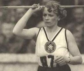 Tilly Fleischer representing Germany in the womens' javelin at the 1936 Berlin Olympics