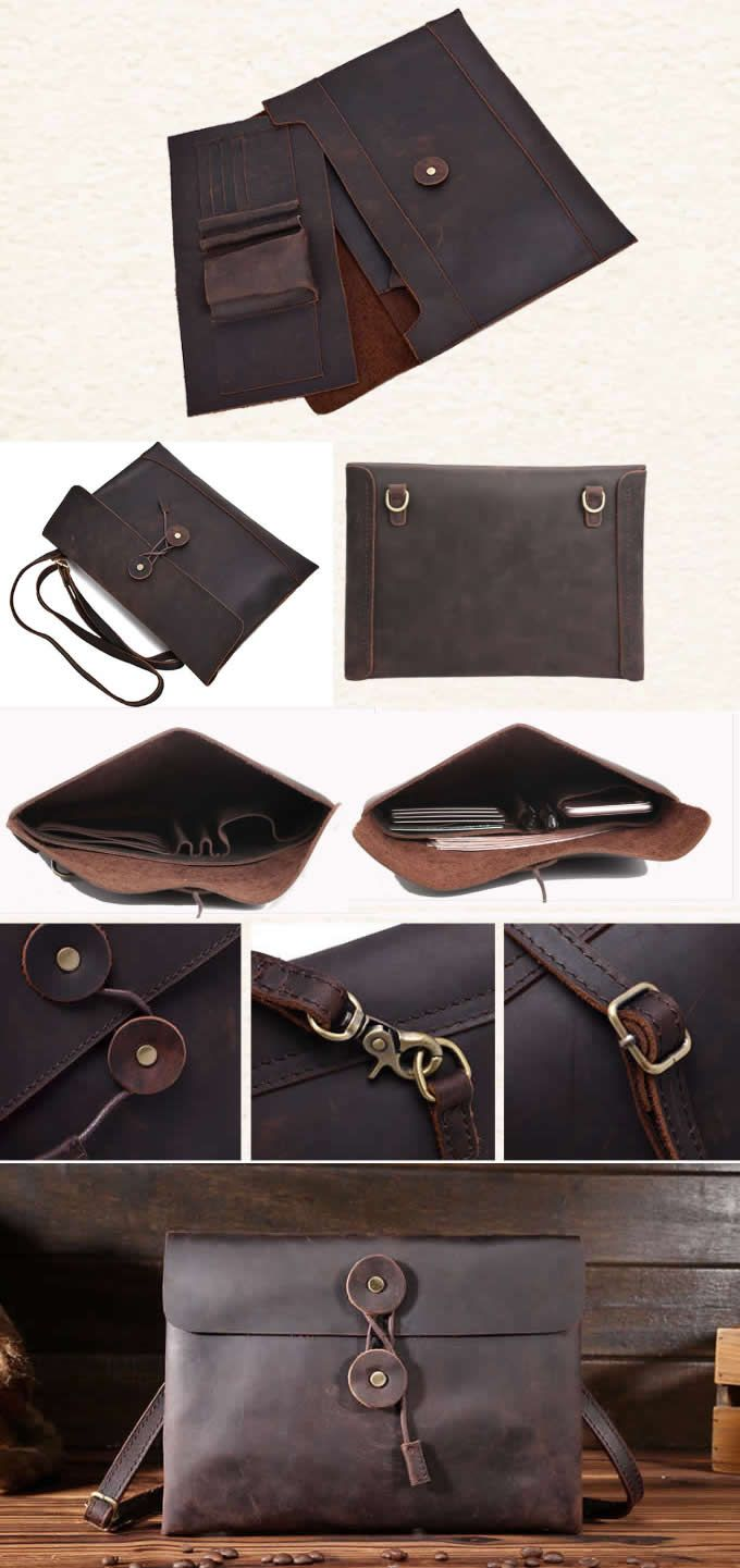 Handmade Genuine Leather Envelope  iPad Case Bag Messenger Satchel Tablet  Bag Travel Organizer  Business Portfolio Briefcase A4 Paper File Document Organizer