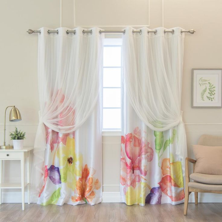 Best Home Fashion 84 in. L uMIXm White Tulle and Faux Silk Magenta Watercolor Blackout Curtain Panel (4-Pack), Magenta Floral Watercolor White Panel