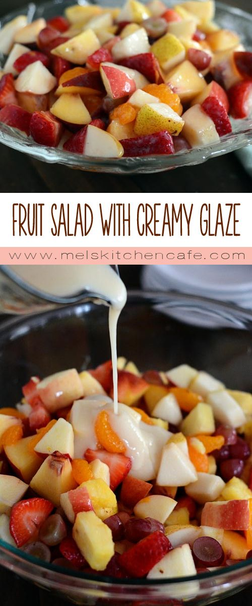 This fresh fruit salad with creamy glaze is divine and so easy to make.