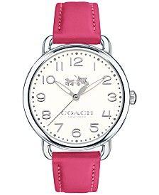 COACH Women's Delancey Pink Leather Strap Watch 36mm 14502560