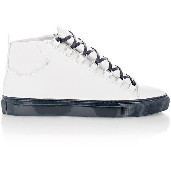 Balenciaga Arena High-Top Sneakers ($635) ❤ liked on Polyvore featuring mens, men's shoes and men's sneakers