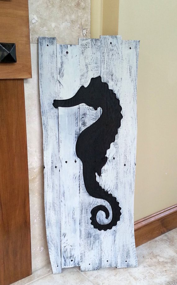 Beach Decor - Reclaimed Wood Seahorse Wall Hanging - FREE shipping