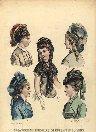 1870's hairstyles | Sprigged Muslin: Slimming- the 1870's