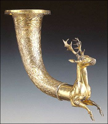 Parthian Stag Rhyton; Silver with gilding; inlaid glass eyes circa 50 BCE - 50 CE