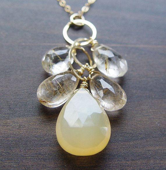 Lemon Chalcedony Cluster Necklace  14k Gold Filled by friedasophie, $49.00