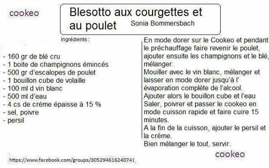 Blesotto aux courgettes et au poulet