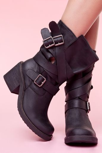 black strapped boot