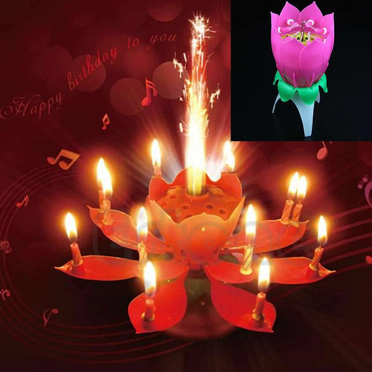 New Romantic Musical Lotus Flower Rotating Happy Birthday Party Candle Lights Kid Gift Cake Decoration