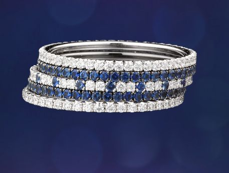 micro pave stackable bands as wedding band with ring... Sapphire and diamond