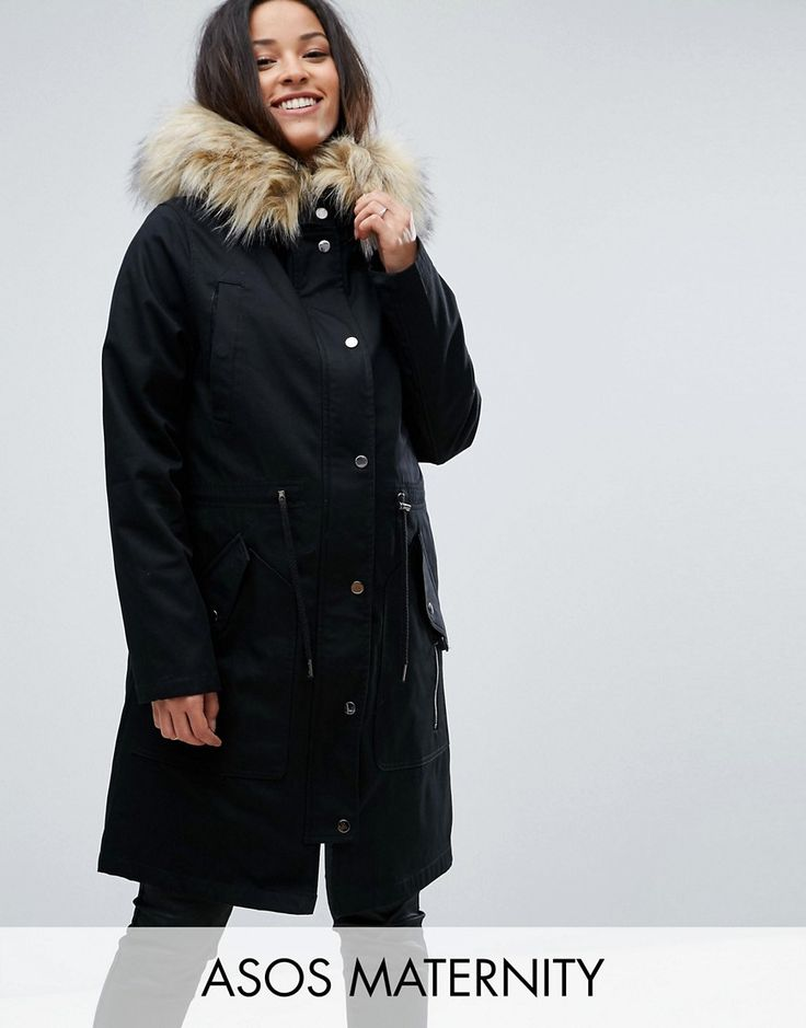 Get this Asos Maternity's fur coat now! Click for more details. Worldwide shipping. ASOS MATERNITY Parka with Detachable Faux Fur Liner - Black: Maternity coat by ASOS Maternity, Smooth fabric, Detachable fur lining, Hooded neck, Zip fastening with press-stud closure, Drawstring waist, Functional pockets, Designed to fit through all stages of pregnancy, Regular fit - true to size, Machine wash, 84% Cotton, 16% Polyester, Our model wears a UK 8/EU 36/US 4 and is 173cm/5'8 tall. Maternity…