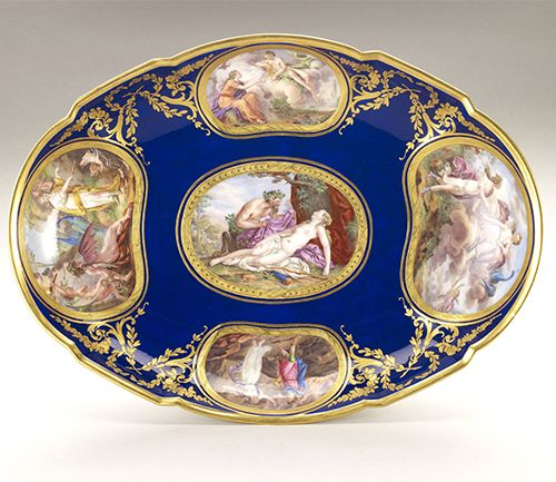An oval dish, part of a Sèvres porcelain dinner service commissioned by Louis XVI in 1783. Only about half of the service was finished when the king was executed in January of 1793.