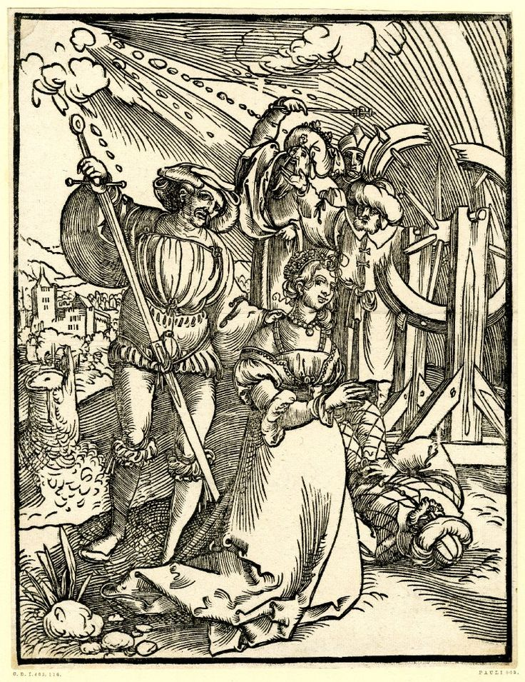 1520 - 30 Sebald Beham - The martyrdom of St Catherine; the saint in contemporary dress kneeling in the foreground with folded hands and facing right. Behind her the executioner drawing the sword from the scabbard with his right hand. Behind them on the right the broken wheel, standing left of the wheel three men in oriental dress and a fourth lying on the ground