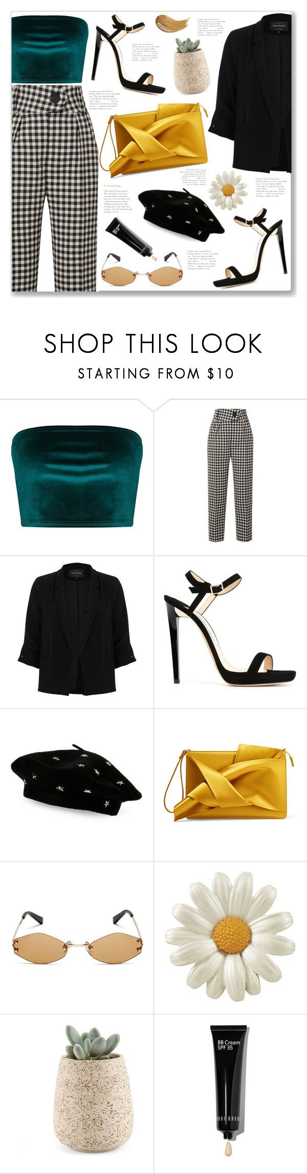 """Black Beret"" by creating-outfits ❤ liked on Polyvore featuring Petar Petrov, River Island, Jimmy Choo, Steve Madden, N°21, Kendall + Kylie, Bobbi Brown Cosmetics, Too Faced Cosmetics and vintage"
