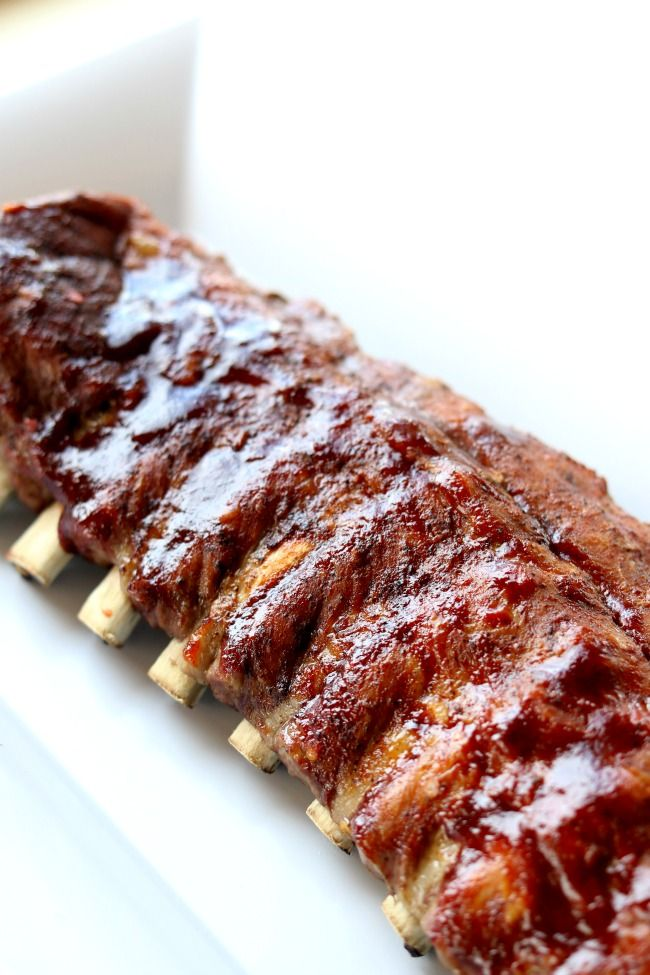 Instant Pot/Slow Cooker St Louis Baby Back Pork Ribs--the best (and easiest) ribs that you can make at home. The meat practically falls off the bone.
