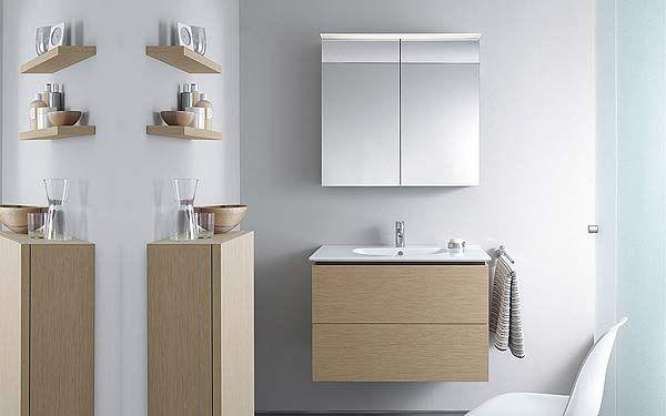 ensemble meuble suspendu coloris chne bross 1396 et armoire de toilette duravit delos bathroom - Ensemble Vanite Armoire