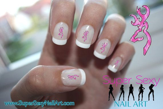 Pink Deer Camo Nail Art Water Transfer Decal  by SuperSexyNailArt, $3.50... would rather have green