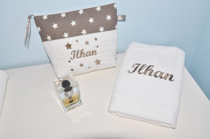Box cadeau:serviette 50x100 +trousse de toilette personnalisées brodée pour lui,pour elle naissance,anniversaire,noel : Textiles et tapis par lbm-creation