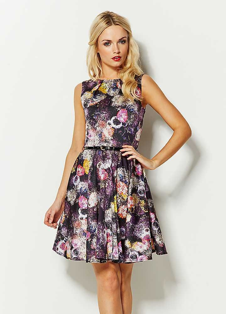 Closet Navy Belted Floral Print Circle Skirt Dress