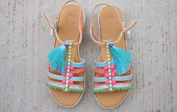 gladiator genuine leather greek sandals pom poms