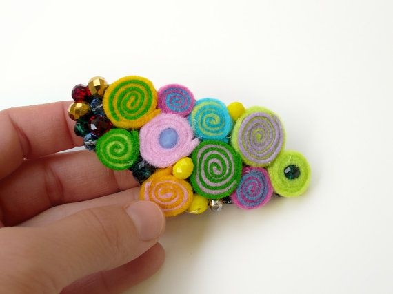 Colorful floral felt brooch-Wedding jewelry-Felt pin-Brooch pin-Felt brooch-Abstract jewelry-Colorful brooch-Wedding brooch-Hair accesories  ► BEFORE