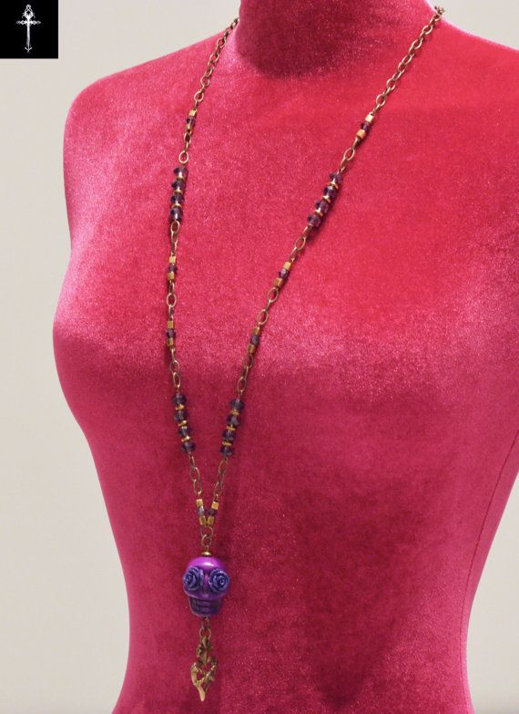 Handmade purple skull necklace with acrylic purple by BYTWINS