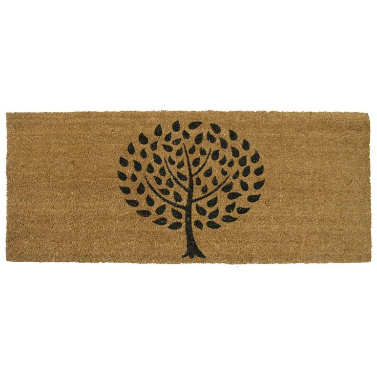 Keep guests from tracking dirt and debris into your home with this rectangular door mat. This Rubber-Cal mat has a stylish black tree design over a brown background, and it is made of a durable coir and PVC blend that will withstand the elements.