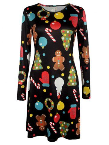 GET $50 NOW | Join RoseGal: Get YOUR $50 NOW!http://www.rosegal.com/long-sleeve-dresses/knee-length-christmas-patterned-dress-939615.html?seid=1546809rg939615