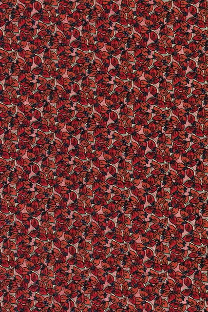 Patch-work stof blomstret koral/orange/rød/lilla   SToFSTEDET