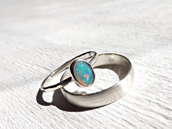 opal silver ring set opal engagement ring opal wedding band - Opal Wedding Ring
