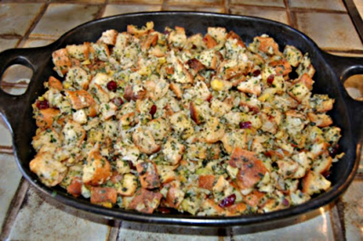 Chestnuts add a sweet, nutty, and chewy flavor to classic bread stuffing. Add dried cranberries and fresh herbs to infuse lovely aromatic flavors.