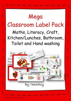 Classroom Labels Mega Pack: All the labels you could want - this is a large bundle of 123 labels. It includes: Bathroom - 15 How to go to the toilet - 7 How to wash hands - 8 Literacy labels - 36 Maths labels - 21 Craft labels - 18 Lunch and kitchen labels - 18 Posters - wash hands, food preparation, no nuts.