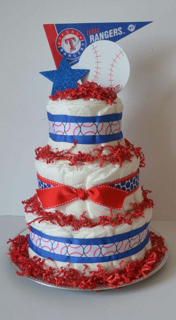 Texas Rangers baseball diaper cake Baseball by CrispCreations1